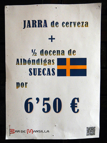 Sign advertising a lunch consisting of a jarra of beer with a half dozen Swedish meatballs in Mansilla de la Sierra in Spain