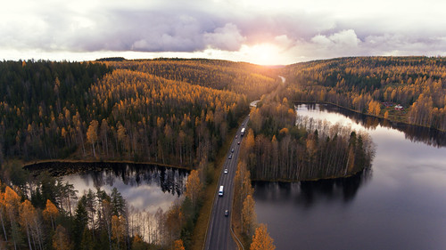 sunset autumn finland suomi dji phantom 4 drone aerial