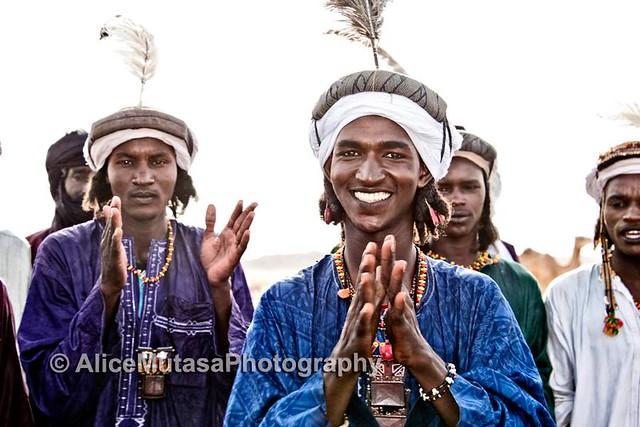 Wodaabe Peul man singing at a Gerewol , Niger