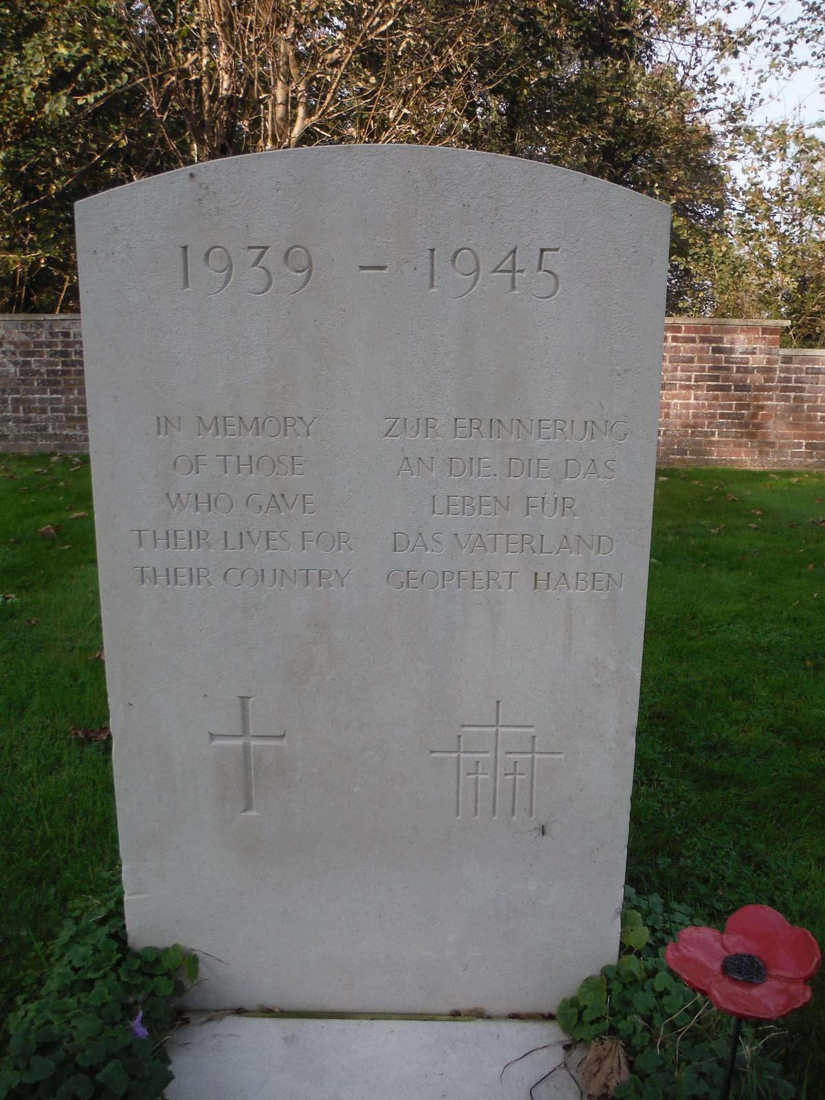 Bi-lingual WWII Memorial Stone, West Thorney Church SWC Walk 180 Southbourne to Emsworth (via Thorney Island)