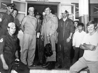 1973 41 Sqn crew outside Qui Nhon Hospital, Vietnam with hospital staff