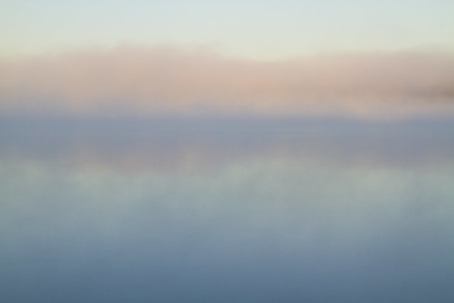 fog water pond lake horizon morning sunrise sunlight pink sky skies cloud lowcloud reflection still smooth calm peace peacefull relax relaxing reflect reflecting blue