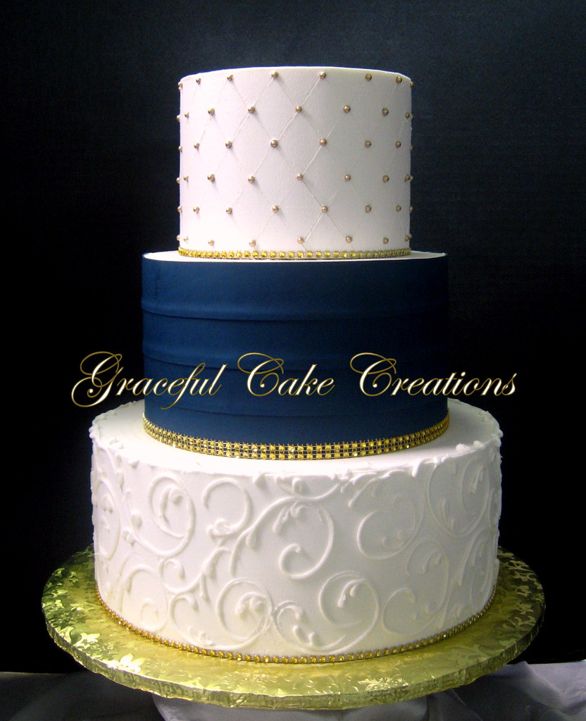 Elegant Ivory Butter Cream Wedding Cake With A Navy Blue S Flickr