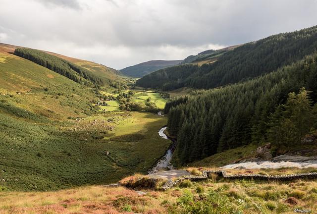 The green valley. Glennmacnass waterfall. Ireland