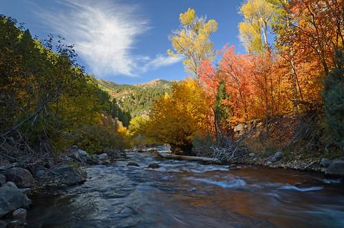 utah autumn autumncolors nikond7000 waterflow watermotion waterreflections blueskies fallcolors nature landscape