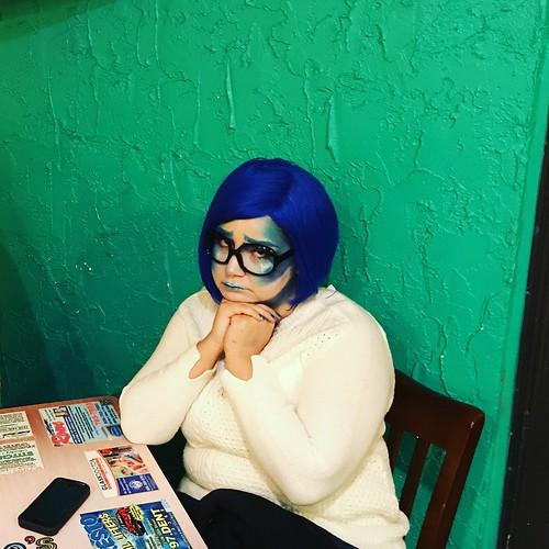 sadness daughter insideout green bluehair mexicanrestaurant lubbock halloween 2017 lunch