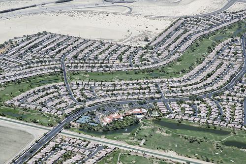 aerialphotograph aerial suncity shadowhills indio coachellavalley riversidecounty california coloradodesert jeffersonstreet interstate10 i10 suburbia