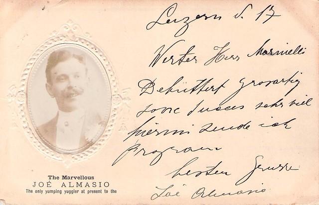 ALMASIO, Joé, Lucerne ... - Archives Emile & Vincent ISOLA et Herman B. MARINELLI, agent artistique (1864-1924)