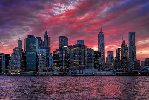 park new york city nyc travel bridge pink light sunset sky cloud color building skyline architecture brooklyn river cityscape outdoor dusk manhattan violet carousel east tall lower janes