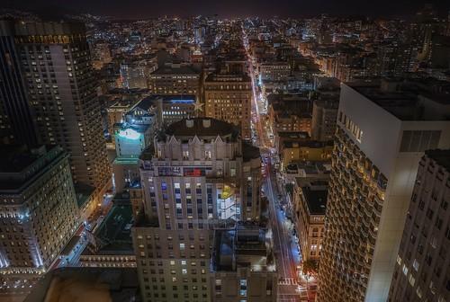 travel sonya7r2 sanfrancisco night urban street skycrapers star aerial cityscape longexposure view city