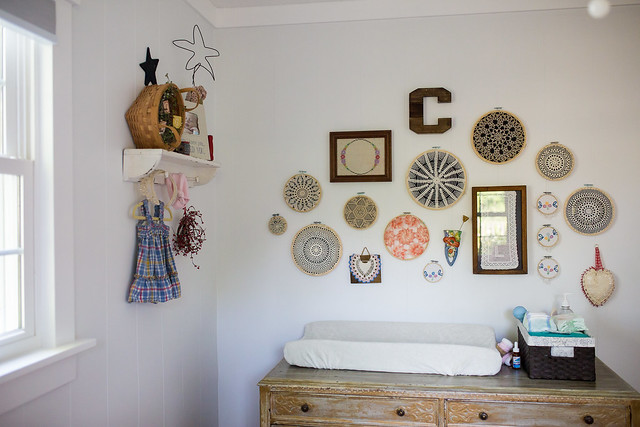 collage wall in nursery