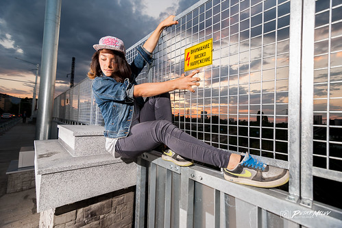 street dance break hiphop art high voltage bridge freestyle fence cloudy sky sunset sunrise orange deep blue red railway train sofia bulgaria jeans snickers hat stright nike flash ligth experiment