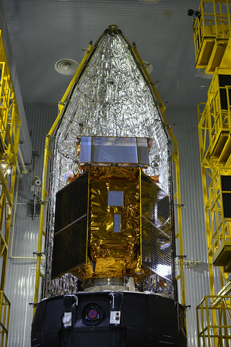Sentinel-5P next to fairing half shell | by ESA_events