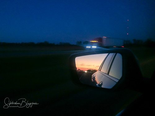 night roadtrip road mirror sunset car truck graphic bluehour