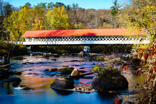 winchester newhampshire unitedstates us longexposure water river ashuelotriver fall autumn trees reflections bridge coveredbridge landscape