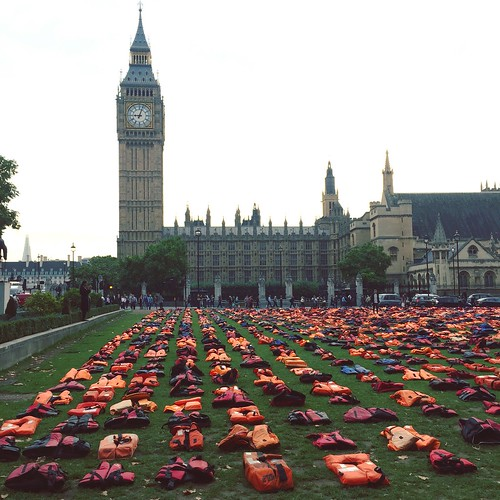 Refugees' life jackets in Parliament Square | by HowardLake