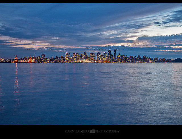 Downtown Vancouver after sunset, British Columbia, Canada
