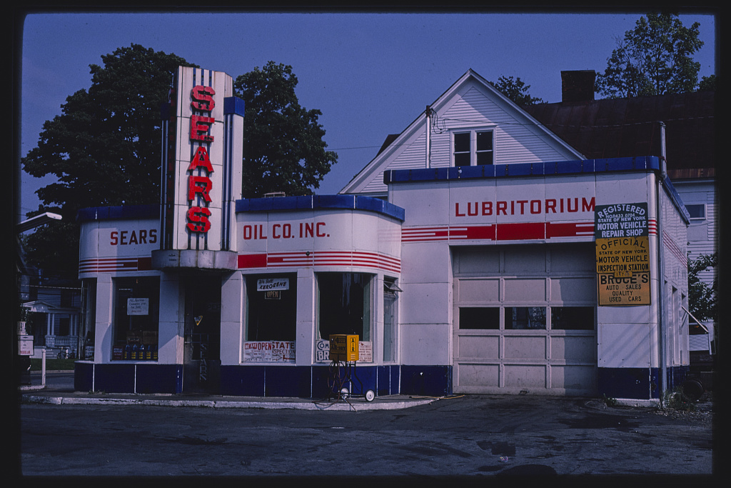 Sears gas station, overall view, N. James Street, Rome, New York (LOC)