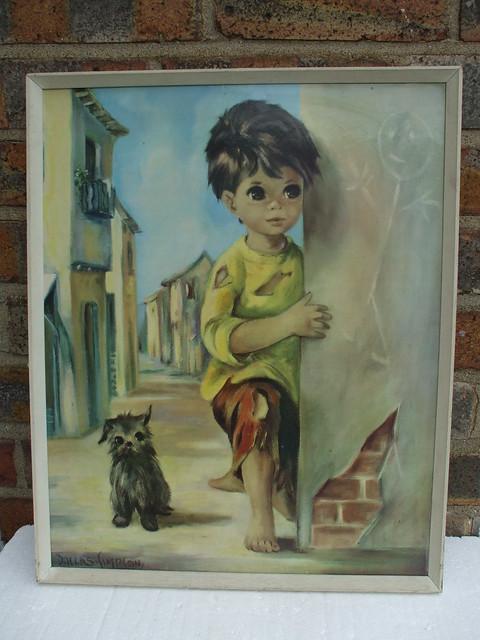 Vintage Dallas Simpson Kitsch Wide Eyed Child & Dog Print