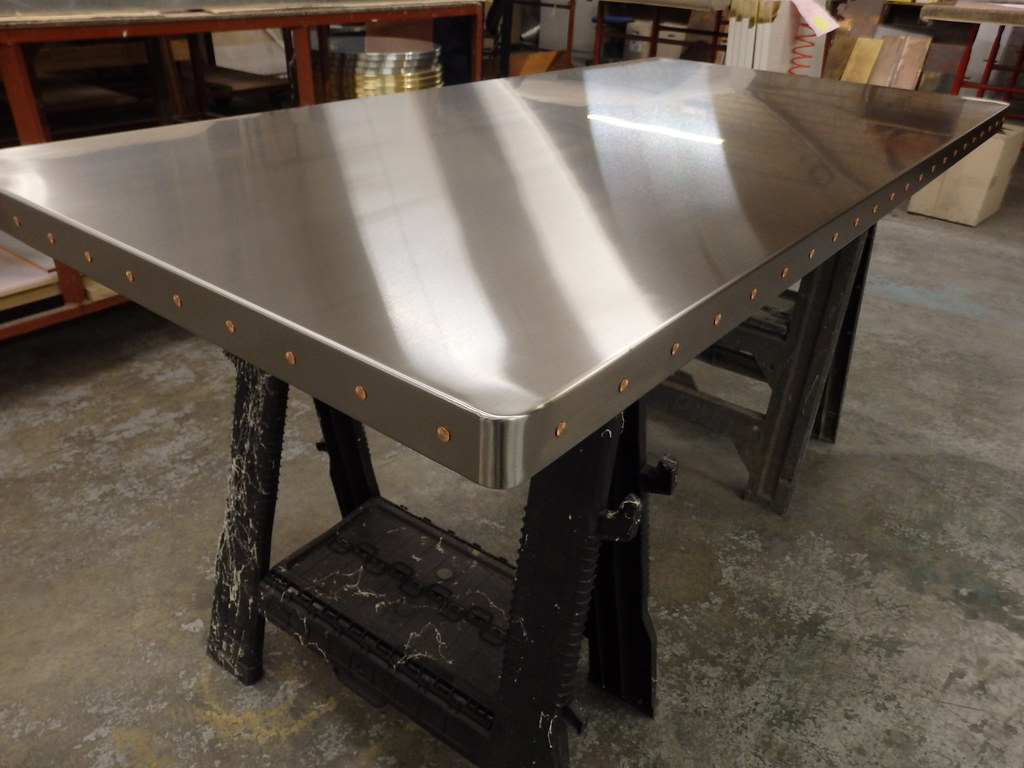 e7e6a78be4783 ... 82 - Satin Stainless Steel Table Top with Copper Rivets