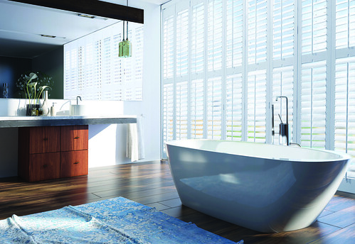minimal clean bright bathroom | by CoolShutters