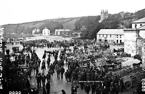 robertfrench williamlawrence lawrencecollection lawrencephotographicstudio thelawrencephotographcollection glassnegative nationallibraryofireland fairday bantry cocork ireland cattle horses carts creels men women houses sea hills spire tower bantryairport