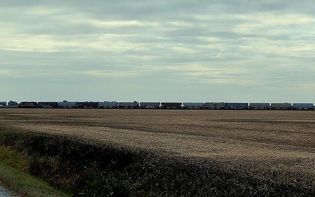 CKIN taking a grain train to LaCrosse Indiana