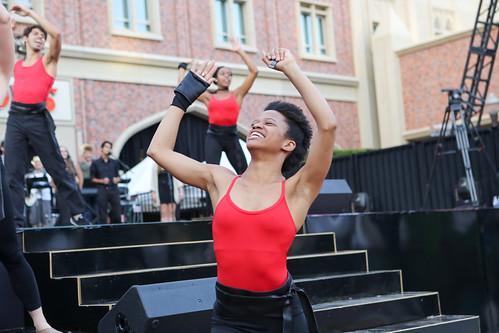 BFA student Rachel Harris performing in USC Village Opening Performance dress rehesarsal