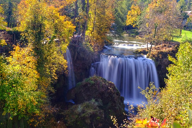 Autumn color & waterfall