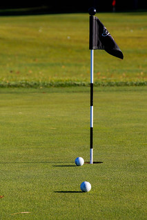 Golf Hole with Ball and Flag | by wuestenigel