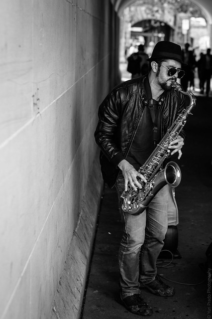 ...the sax player...