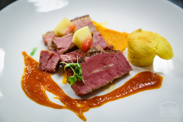 Sweet & Smokey - Smoked Brisket, Sweet Potato, Pickled Peach, BBQ served with Woodford REserve Country Roads Blend