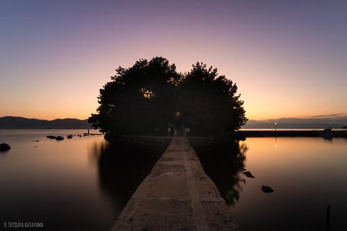 japan nagasaki omura nature island sky sunset shrine landscape sea night nightscape nightview