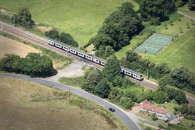Train on line between Manningtree & Harwich - Essex aerial view