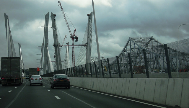 Yay! My first time on the new Tappan Zee Bridge over the Hudson River. All the niceties are still under construction, but the  bridge has been opened to traffic. The old 1950s cantilever TZ visible on the right. New York. Oct 2017.