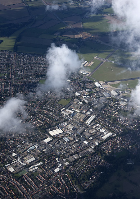 Aerial over Norwich towards airport