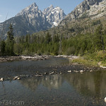 String Lake outlet with Teewinot Moutain, Grand Teton, and Mt. Owen