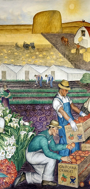 Mural at Coit Tower: California - Packing oranges