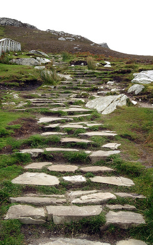 A set of rocky steps lead up a path to a viewpoint at Slieve League in County Sligo in Ireland