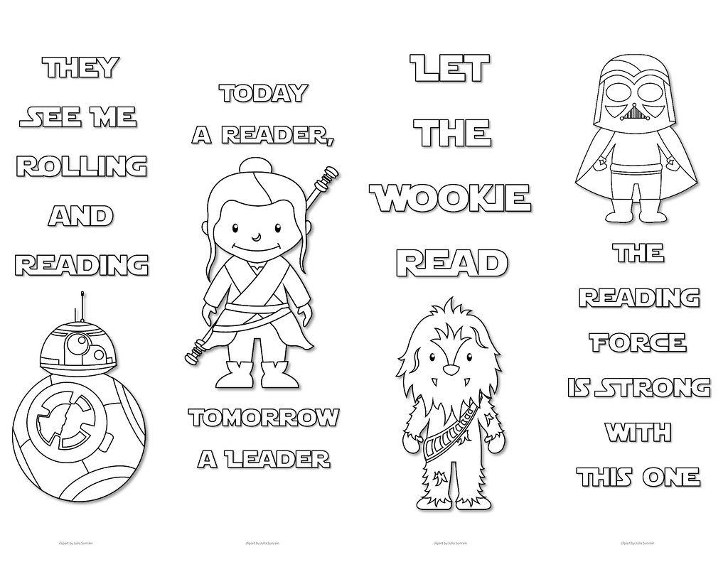 graphic about Star Wars Bookmark Printable called Star Wars Colouring Bookmarks - Preset 1 Print Those people adorable Sta