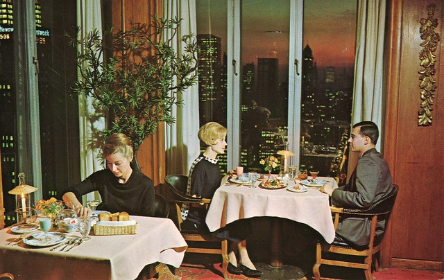 Being fabulously wealthy, Bunny and I often dined at the Top Of The Six's at 666 5th Avenue in Midtown Manhattan. Their caviar was sublime! (Actually a post card from 1963 kindly provided by Auto Body Guy here on Flickr).