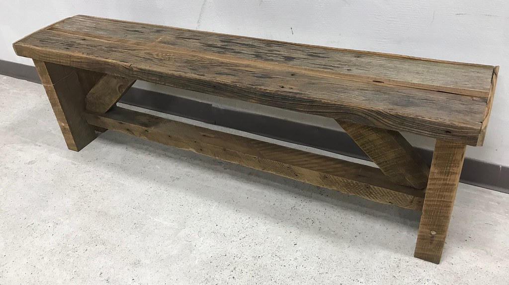 Admirable Reclaimed 100 Year Old Barn Wood Bench 19H X 60W X 12D Dailytribune Chair Design For Home Dailytribuneorg