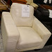 Large cream leather armchair E60