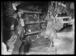 Members of the New Zealand Tunnelling Company in their bunks below the ground at La Fosse Farm