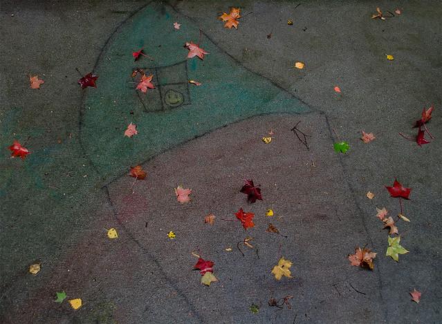 autumn house in chalk