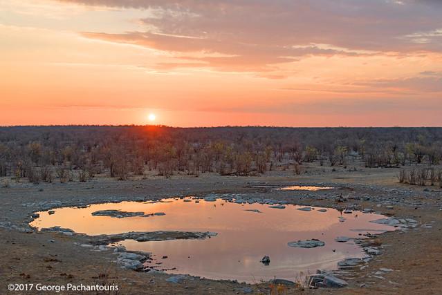 Sunset in the waterhole, Halali restcamp, Etosh NP