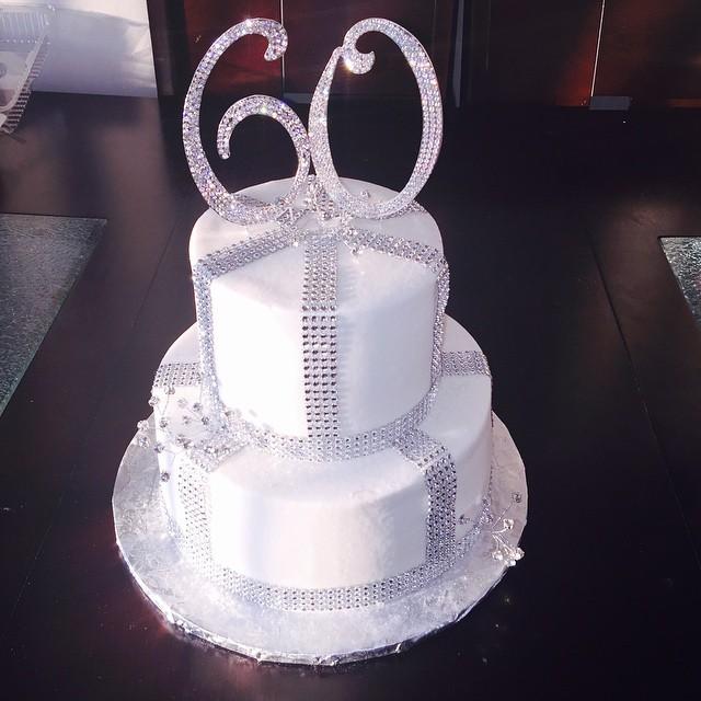Outstanding 60Th Birthday Bling And White Buttercream Cake Nicolescakesmi Birthday Cards Printable Inklcafe Filternl