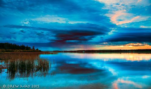 county blue trees sunset sky lake canada storm water rain clouds landscape photography lakes may drew alberta isle refection parkland drewmayphoto