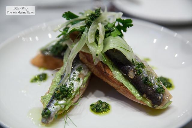 House cured sardines on toast, avocado green goddess, salsa verde, fennel