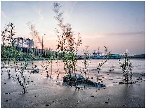 longexposure ferry movement river sunrise waal
